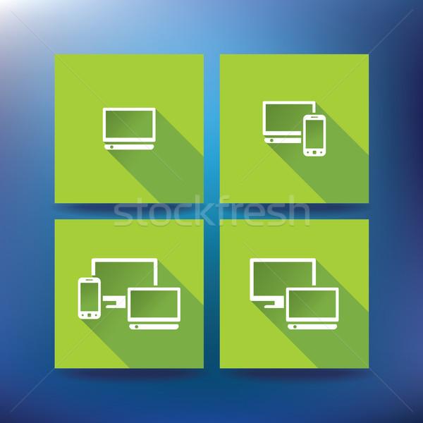 Photo stock: Internet · Ouvrir · la · icônes · eps · 10 · stylo