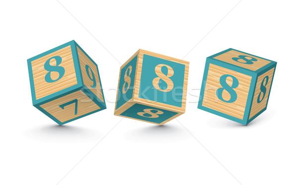 Vector number 8 wooden alphabet blocks Stock photo © ojal