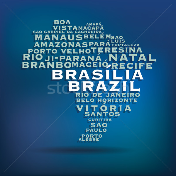 Brazil map made with name of cities Stock photo © ojal