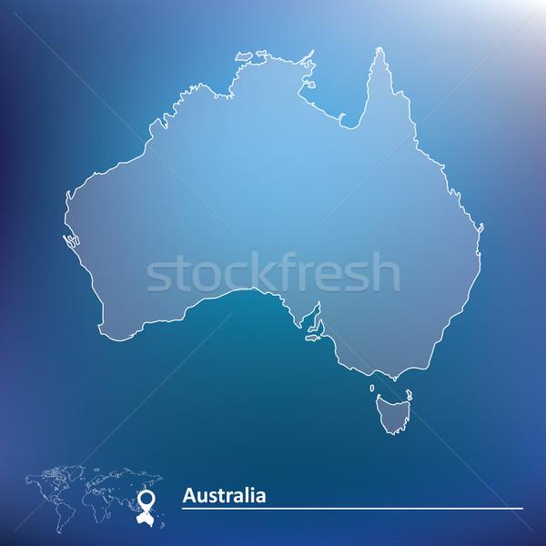Karte Australien Welt Hintergrund Zeichen Sterne Stock foto © ojal