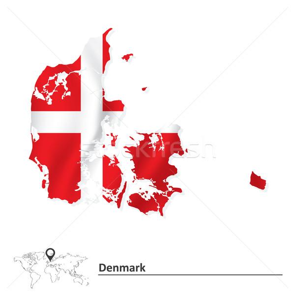 Harita Danimarka bayrak soyut dünya siluet Stok fotoğraf © ojal