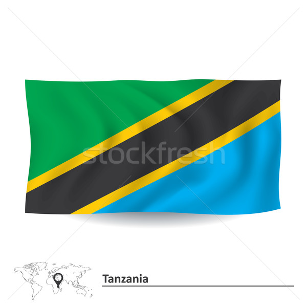флаг Танзания синий Африка силуэта ветер Сток-фото © ojal