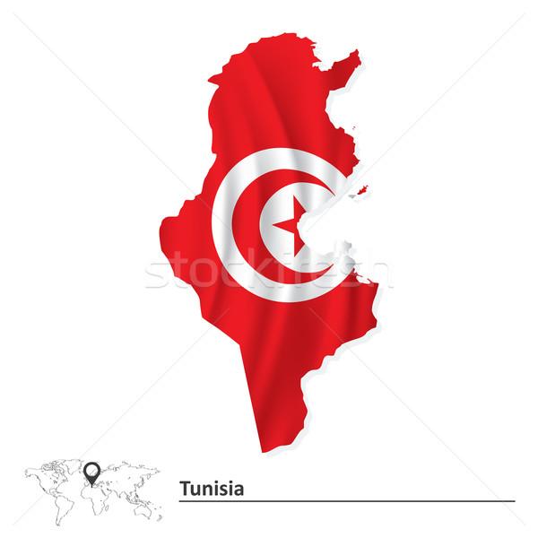 Stockfoto: Kaart · Tunesië · vlag · maan · achtergrond · teken