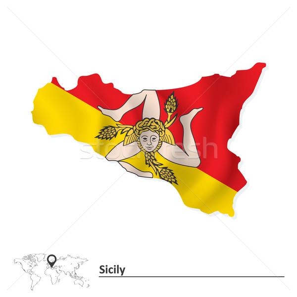 Mapa sicília bandeira mar mundo silhueta Foto stock © ojal
