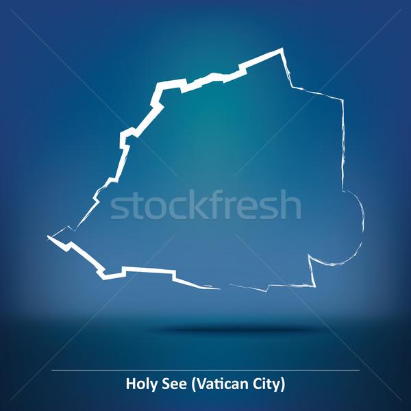 Firka térkép Vatikán felirat sziluett fehér Stock fotó © ojal