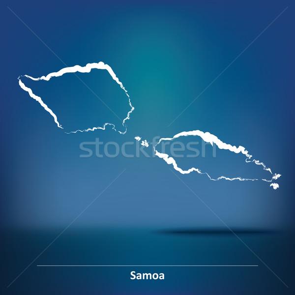 Rabisco mapa Samoa projeto fundo azul Foto stock © ojal