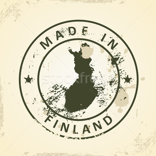Stamp with map of Finland Stock photo © ojal