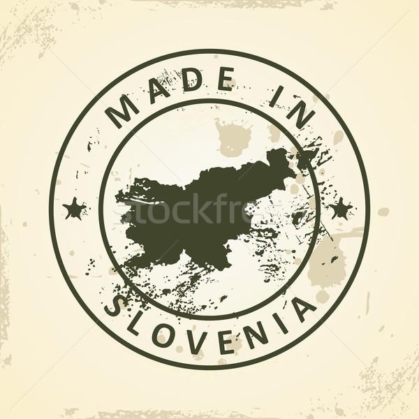 Carimbo mapa Eslovenia grunge textura abstrato Foto stock © ojal