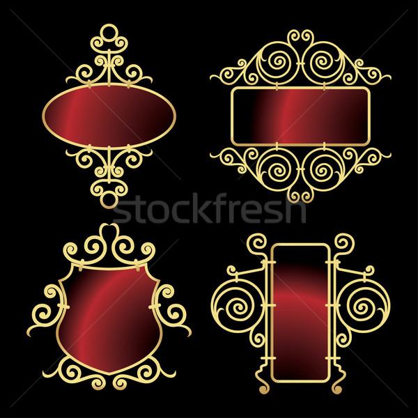 golden wrought iron frames Stock photo © ojal