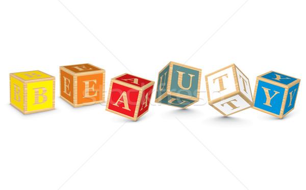 Word BEAUTY written with alphabet blocks Stock photo © ojal