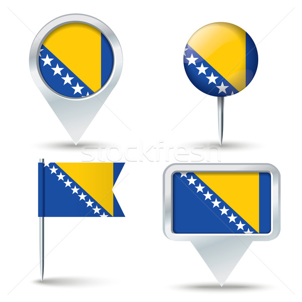 Mapa bandera Bosnia Herzegovina negocios carretera blanco Foto stock © ojal