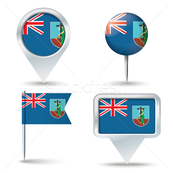 Map pins with flag of Montserrat Stock photo © ojal