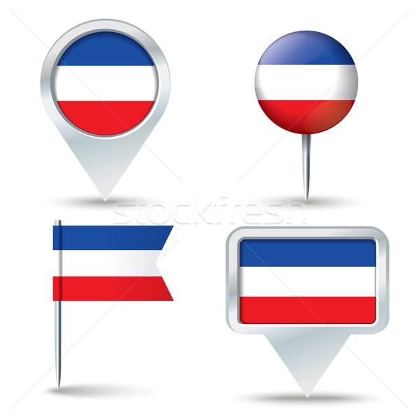 Mapa bandeira Sérvia Montenegro negócio estrada Foto stock © ojal