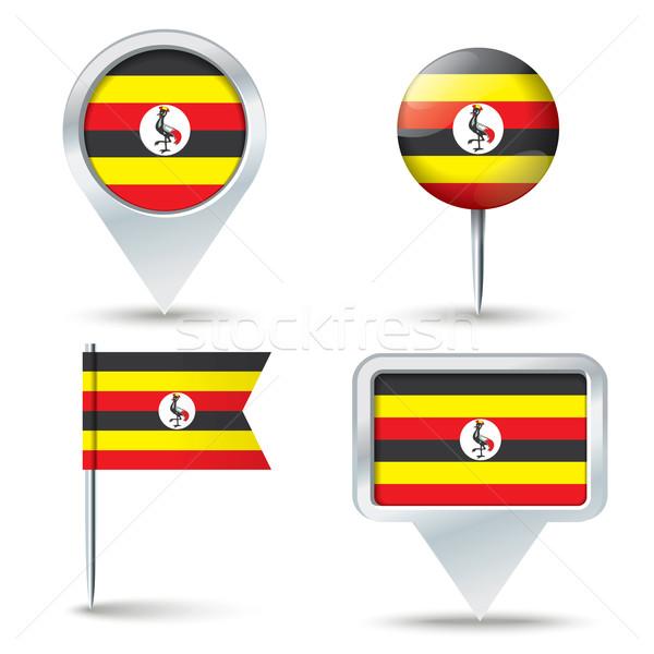Carte pavillon Ouganda affaires route blanche Photo stock © ojal