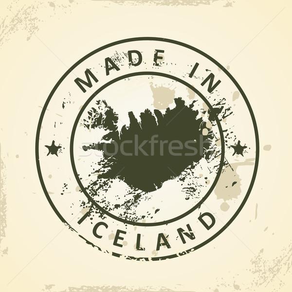 Carimbo mapa Islândia grunge textura mundo Foto stock © ojal