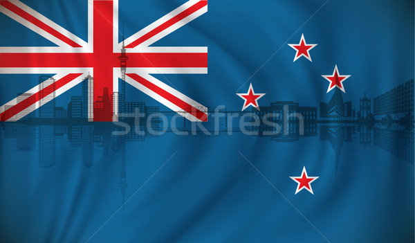 Flag of New Zealand with Auckland skyline Stock photo © ojal