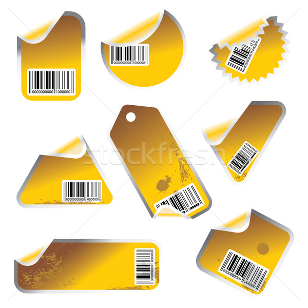 yellow tag and sticker set with bar codes Stock photo © ojal