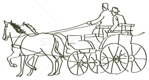 Dibujado a mano caballos deporte naturaleza signo granja Foto stock © ojal