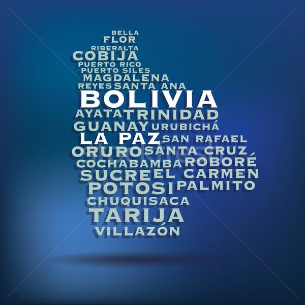 Боливия карта название город свет Сток-фото © ojal