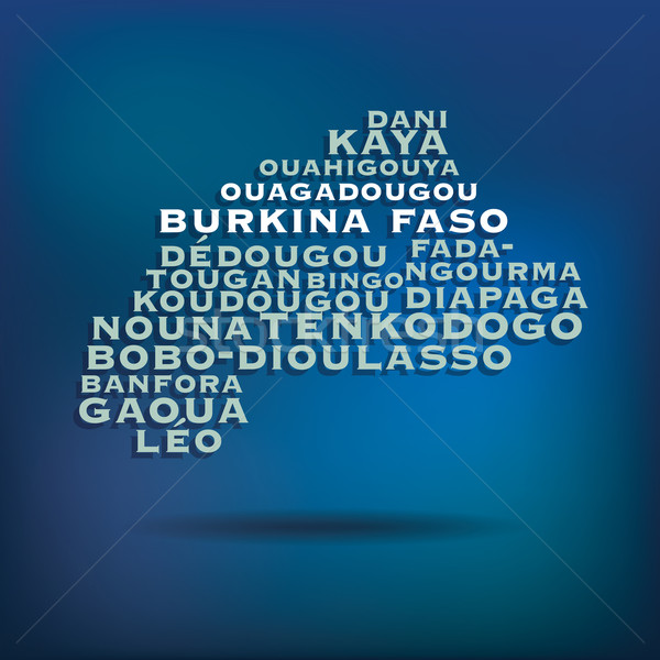 Burkina Faso map made with name of cities Stock photo © ojal