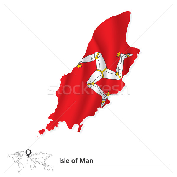 Map of Isle of Man with flag Stock photo © ojal
