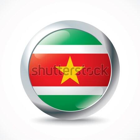 Сток-фото: Суринам · флаг · кнопки · Мир · зеленый · Африка
