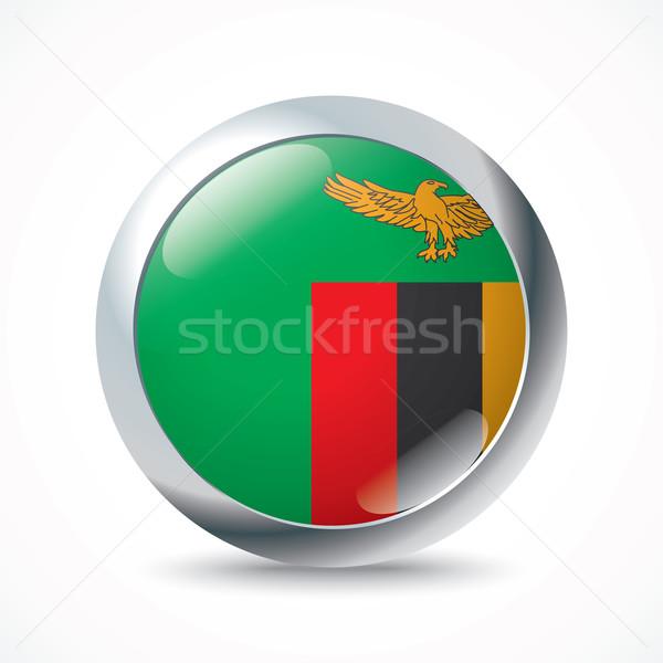 Zambiya bayrak düğme dünya yeşil mavi Stok fotoğraf © ojal