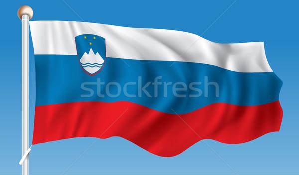 Bandiera Slovenia abstract design blu rosso Foto d'archivio © ojal