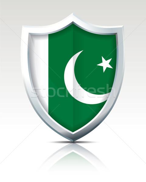 Schild vlag Pakistan maan groene reizen Stockfoto © ojal