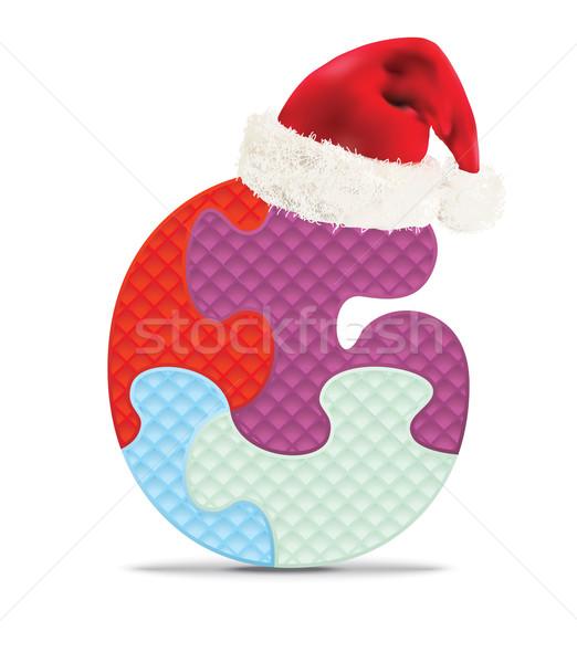 Mektup g yazılı alfabe bilmece Noel şapka Stok fotoğraf © ojal