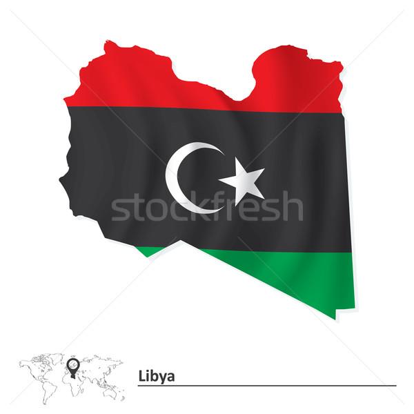Pokaż Libia banderą malarstwo czerwony Afryki Zdjęcia stock © ojal