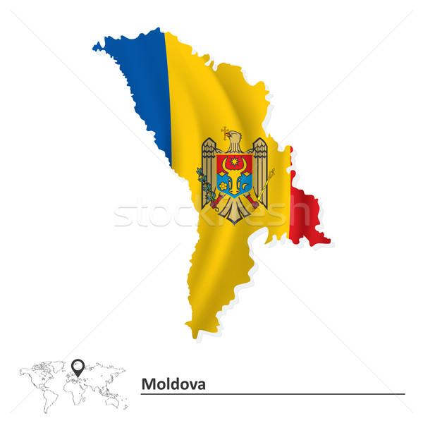Térkép Moldova zászló üzlet textúra terv Stock fotó © ojal