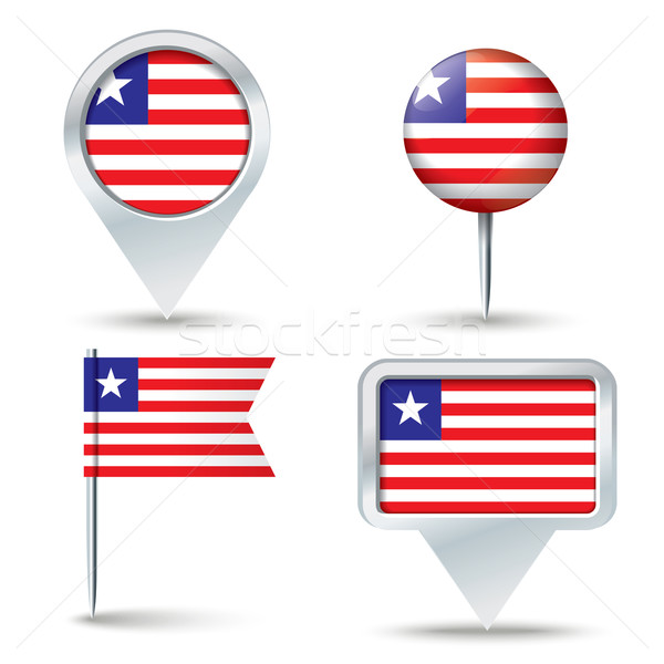 Map pins with flag of Liberia Stock photo © ojal