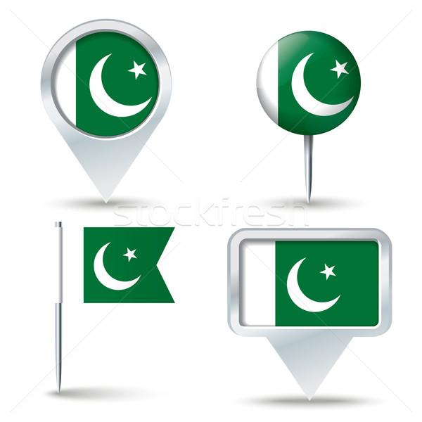 Harita bayrak Pakistan iş yol beyaz Stok fotoğraf © ojal