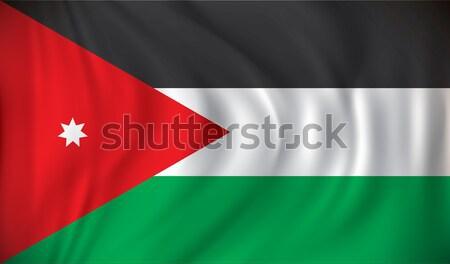 Banderą Jordania tekstury Pokaż podpisania star Zdjęcia stock © ojal