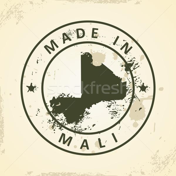 Damga harita Mali grunge dünya imzalamak Stok fotoğraf © ojal