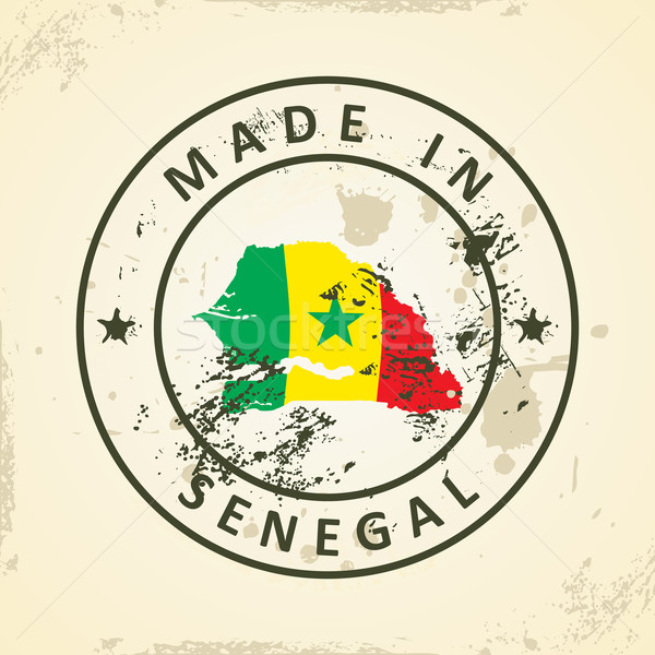 Stamp with map flag of Senegal Stock photo © ojal