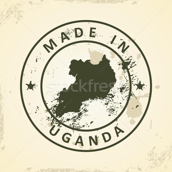 Damga harita Uganda grunge dünya imzalamak Stok fotoğraf © ojal