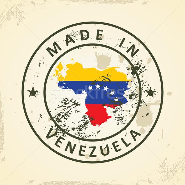 Bélyeg térkép zászló Venezuela grunge csillag Stock fotó © ojal