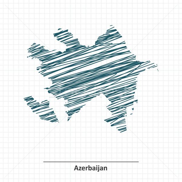 Doodle schets Azerbeidzjan kaart textuur abstract Stockfoto © ojal
