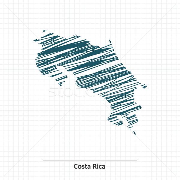 Firka rajz Costa Rica térkép háttér művészet Stock fotó © ojal