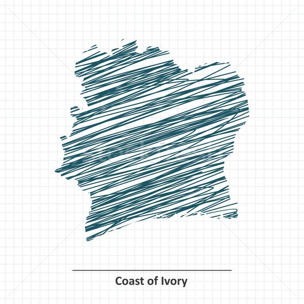 Rabisco esboço costa marfim mapa arte Foto stock © ojal