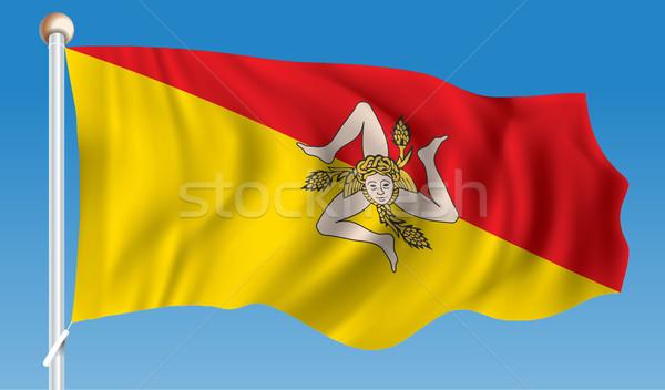 Banderą sycylia morza świat podróży biały Zdjęcia stock © ojal