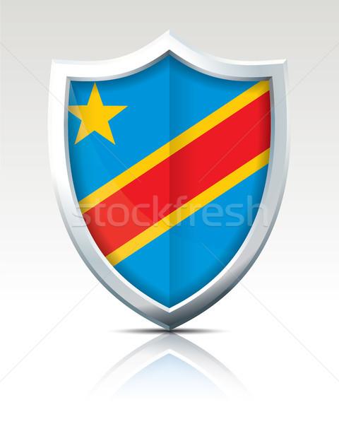 Schirm Flagge demokratischen Republik Kongo Karte Stock foto © ojal