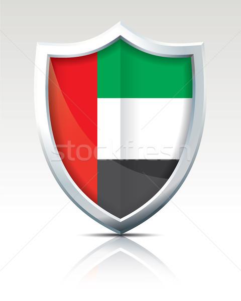 Escudo bandeira Emirados Árabes Unidos mundo verde viajar Foto stock © ojal