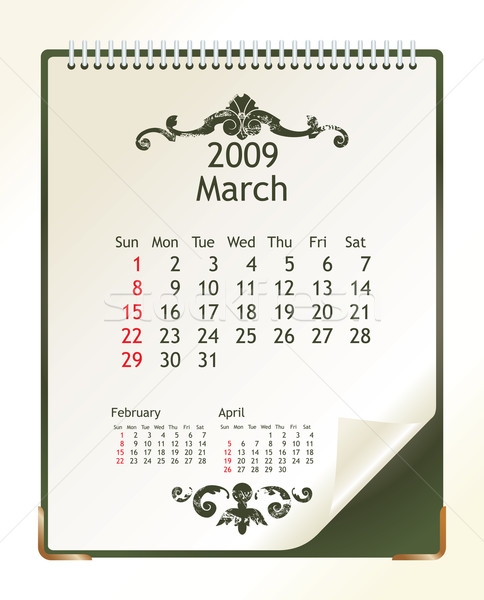 2009 takvim ofis bahar dizayn kış Stok fotoğraf © ojal