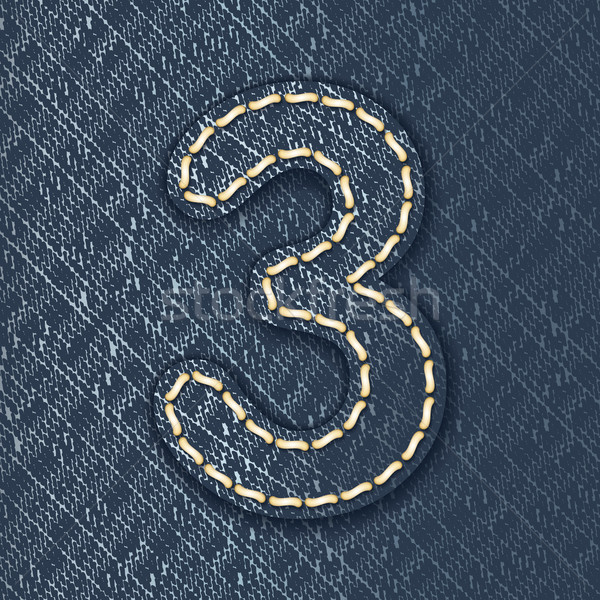 Number 3 made from jeans fabric Stock photo © ojal