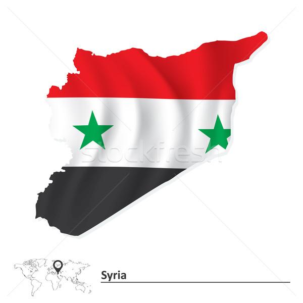Foto stock: Mapa · Síria · bandeira · fundo · verde · estrela