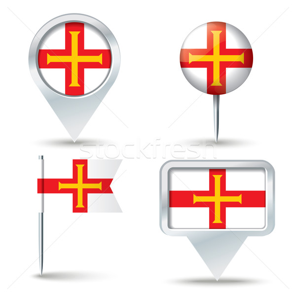 Map pins with flag of Guernsey Stock photo © ojal