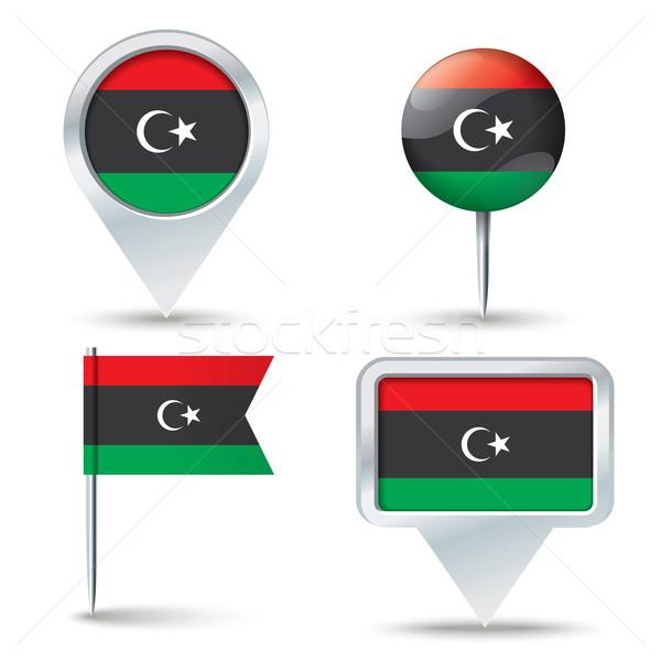Stockfoto: Kaart · vlag · Libië · business · weg · witte
